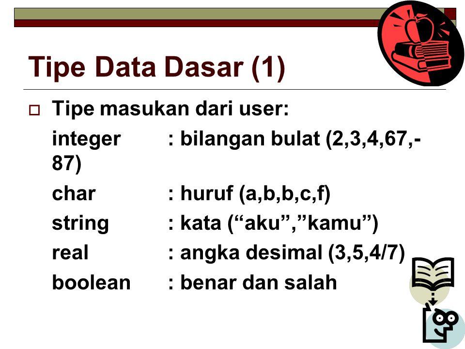 Tipe Data Dasar (1) Tipe masukan dari user: