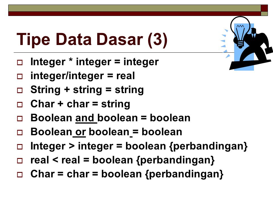 Tipe Data Dasar (3) Integer * integer = integer integer/integer = real