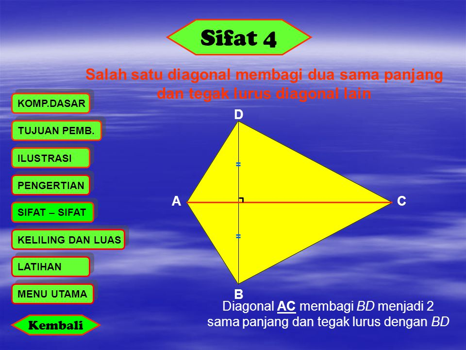 Sifat 4 Salah satu diagonal membagi dua sama panjang dan tegak lurus diagonal lain. KOMP.DASAR. D.