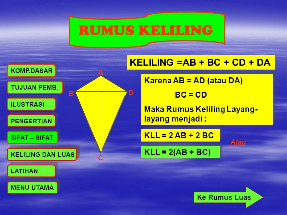RUMUS KELILING KELILING =AB + BC + CD + DA Karena AB = AD (atau DA)