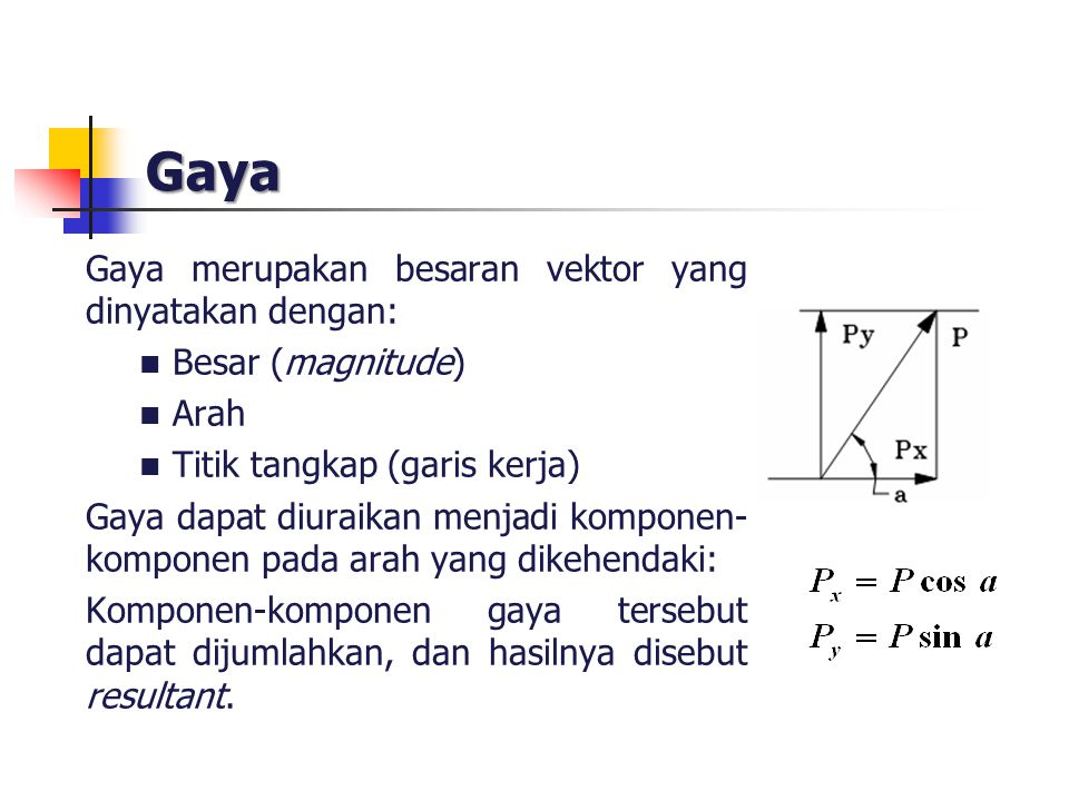 Gaya Gaya merupakan besaran vektor yang dinyatakan dengan: