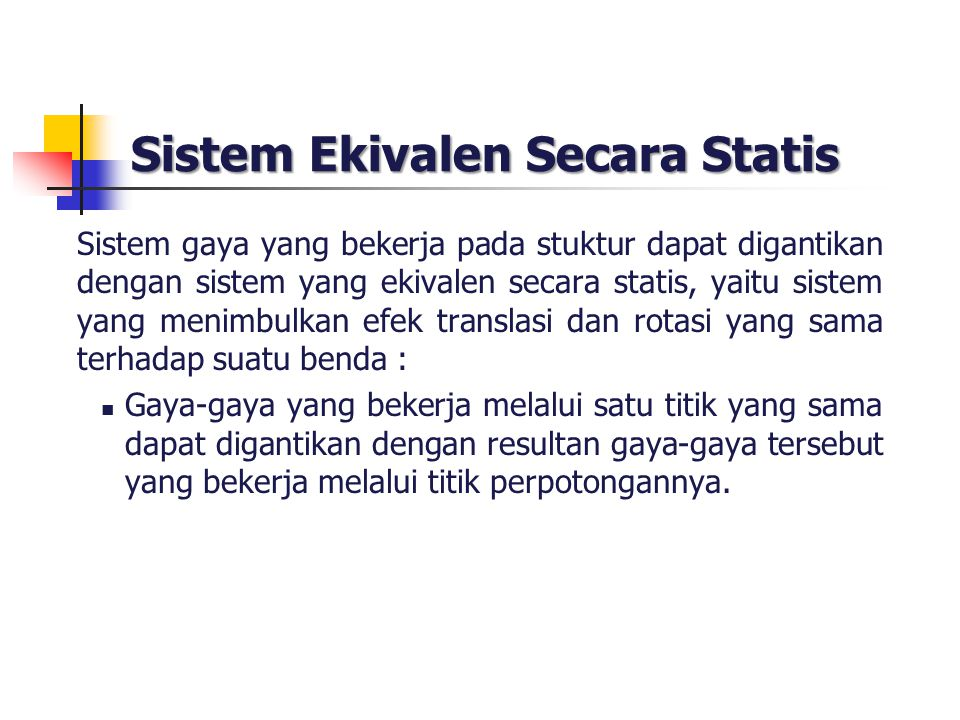 Sistem Ekivalen Secara Statis