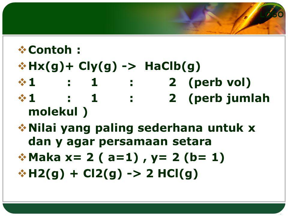 Contoh : Hx(g)+ Cly(g) -> HaClb(g) 1 : 1 : 2 (perb vol) 1 : 1 : 2 (perb jumlah molekul )