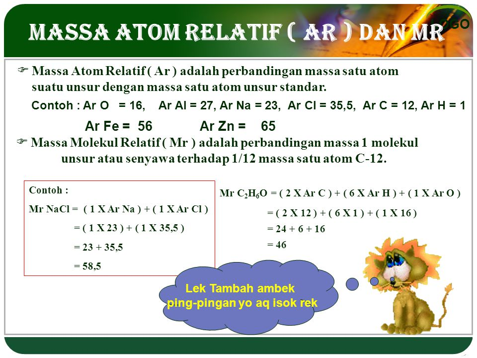 Massa Atom Relatif ( Ar ) dan Mr
