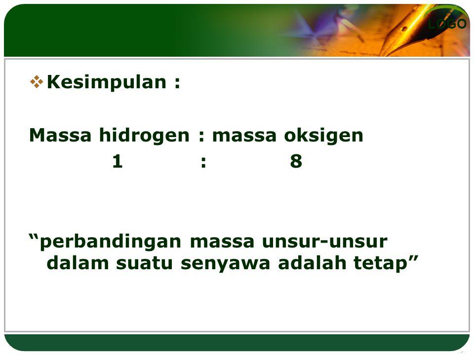 Kesimpulan : Massa hidrogen : massa oksigen. 1 : 8.