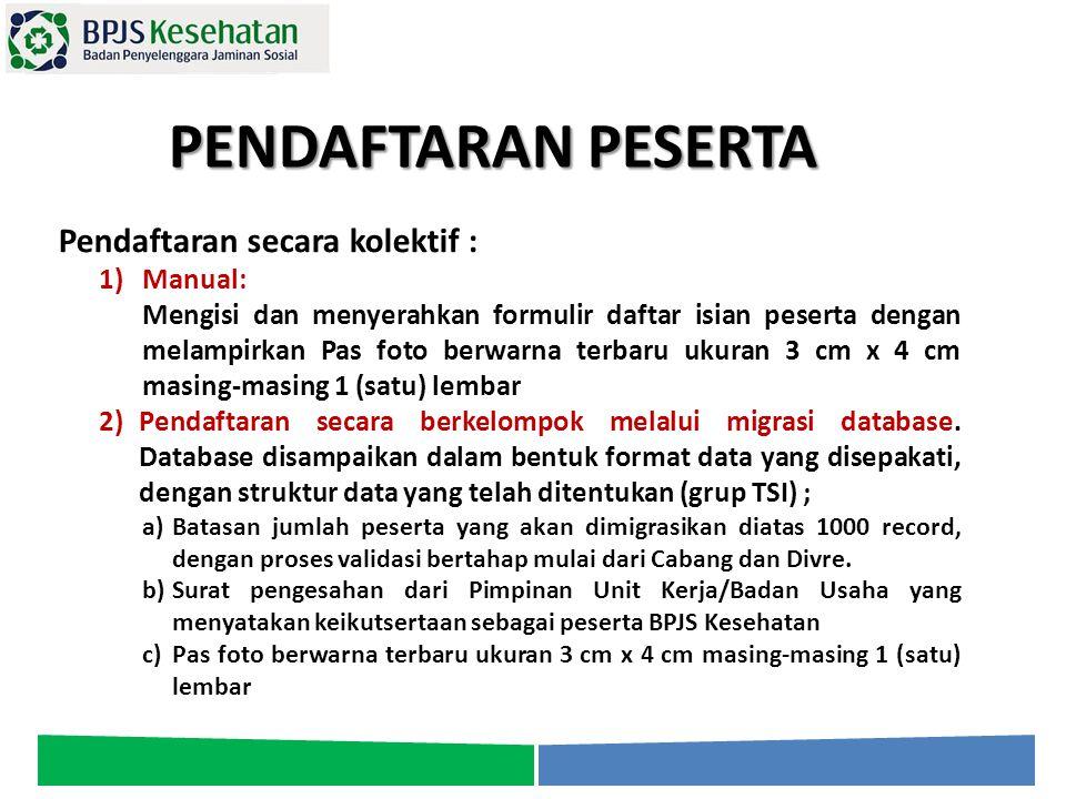 PENDAFTARAN PESERTA Pendaftaran secara kolektif : Manual: