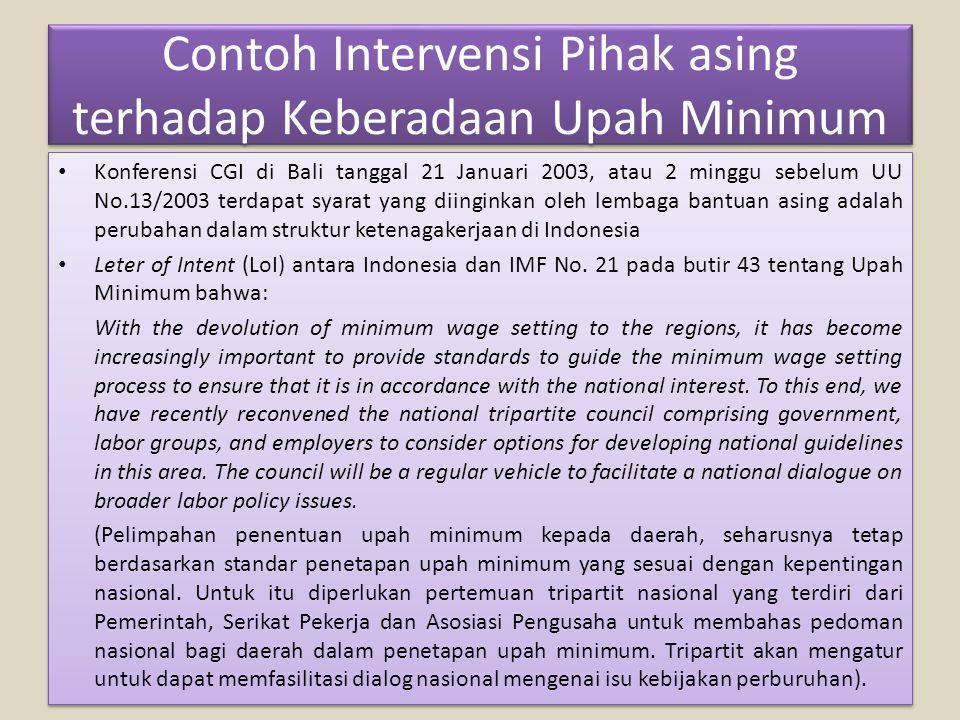 Contoh Intervensi Pihak asing terhadap Keberadaan Upah Minimum