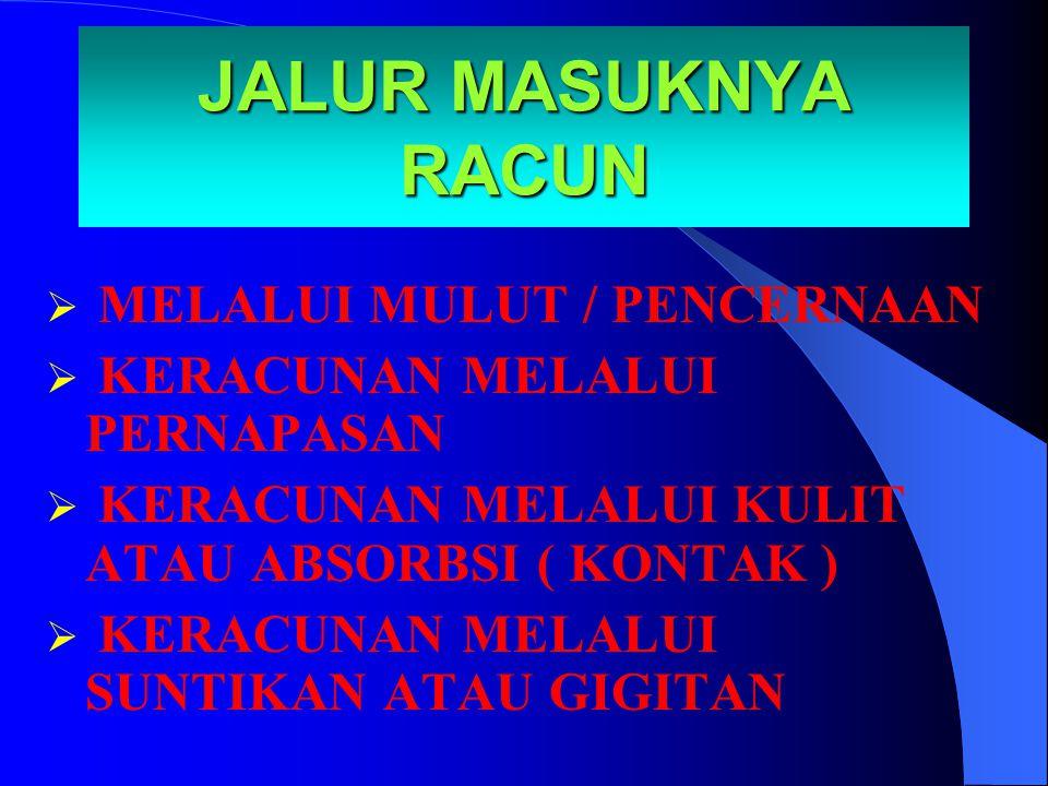 JALUR MASUKNYA RACUN MELALUI MULUT / PENCERNAAN