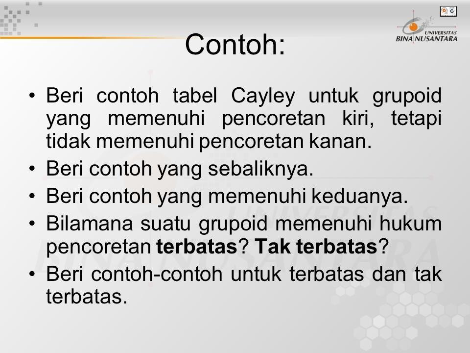 Contoh: Beri contoh tabel Cayley untuk grupoid yang memenuhi pencoretan kiri, tetapi tidak memenuhi pencoretan kanan.
