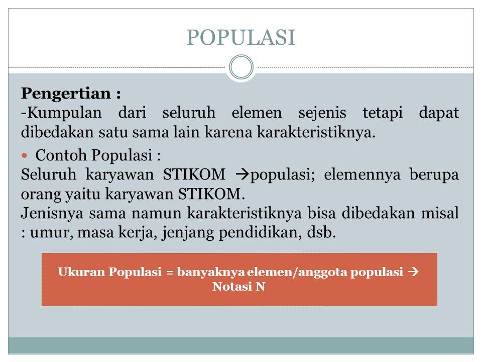 Ukuran Populasi = banyaknya elemen/anggota populasi  Notasi N