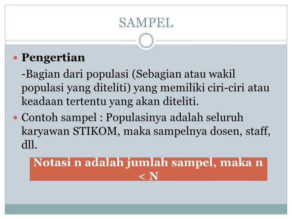 Notasi n adalah jumlah sampel, maka n < N
