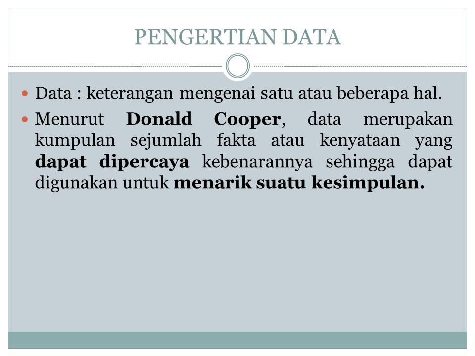 PENGERTIAN DATA Data : keterangan mengenai satu atau beberapa hal.