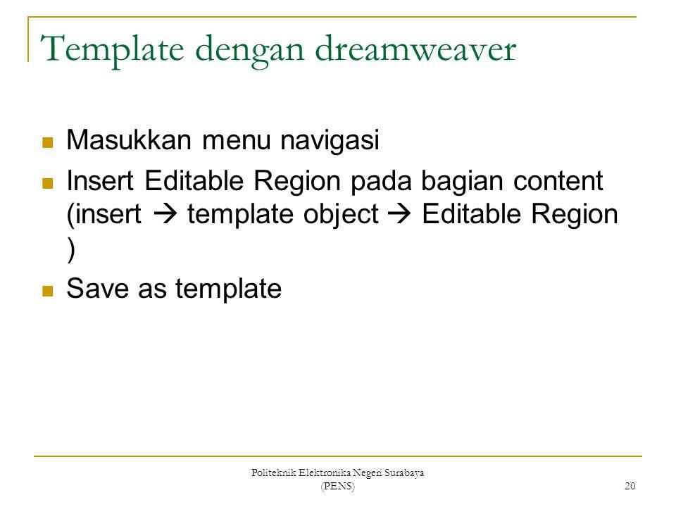 Template dengan dreamweaver