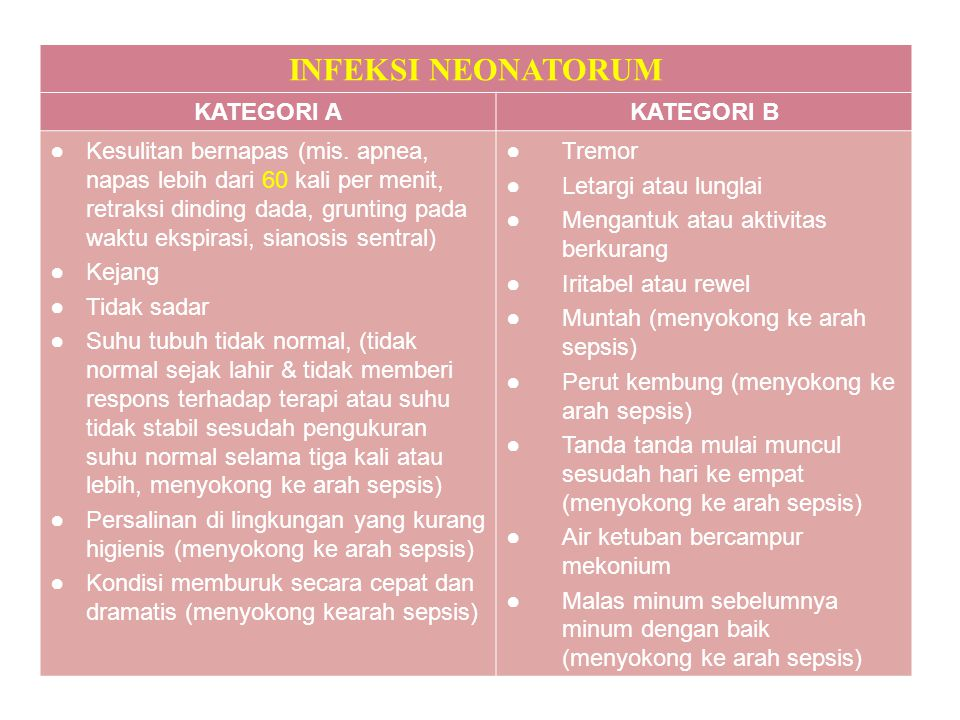 INFEKSI NEONATORUM KATEGORI A KATEGORI B