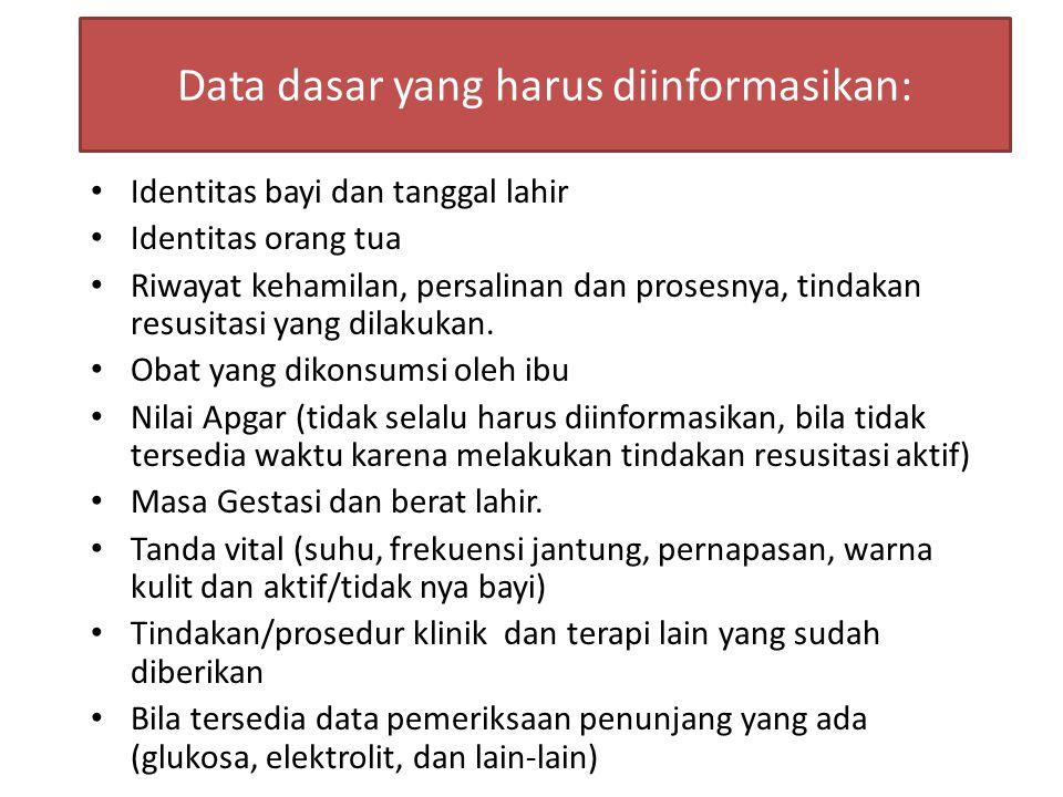 Data dasar yang harus diinformasikan: