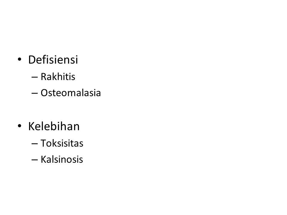 Defisiensi Rakhitis Osteomalasia Kelebihan Toksisitas Kalsinosis
