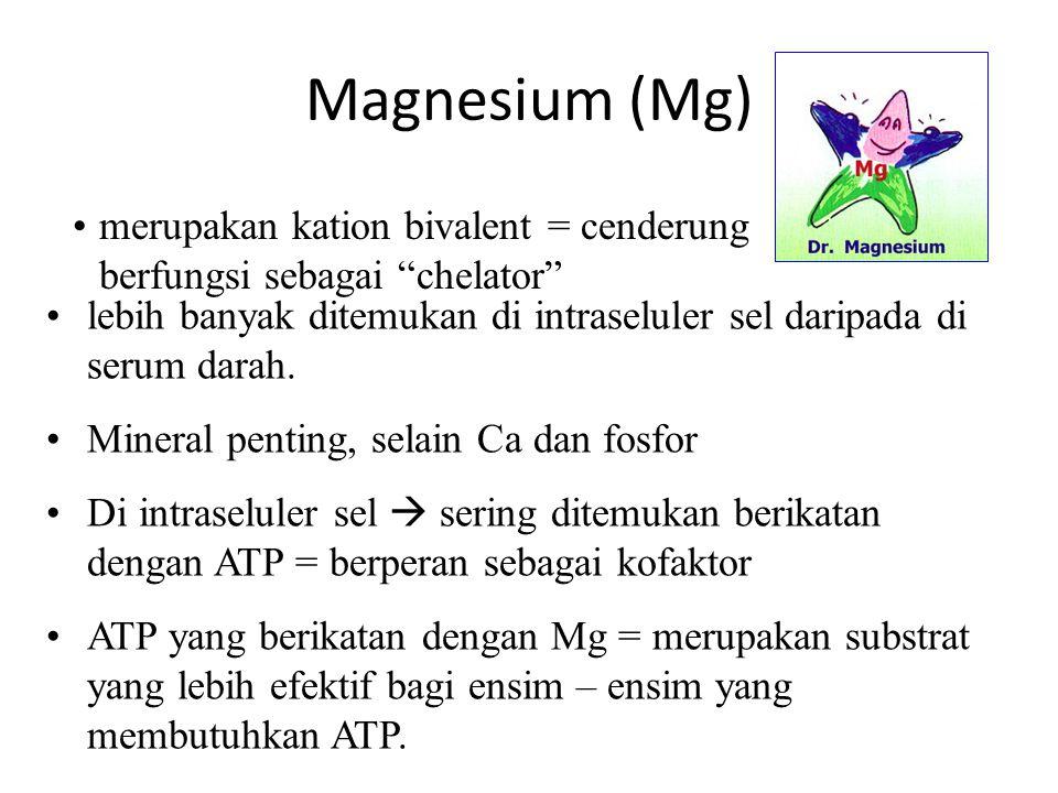 Magnesium (Mg) merupakan kation bivalent = cenderung berfungsi sebagai chelator