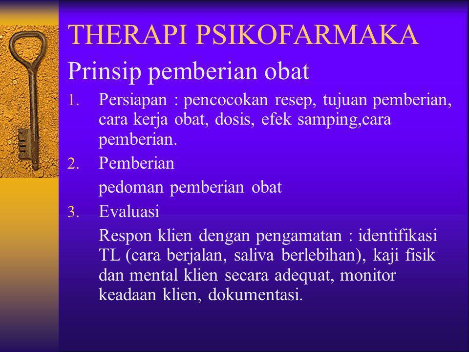THERAPI PSIKOFARMAKA Prinsip pemberian obat