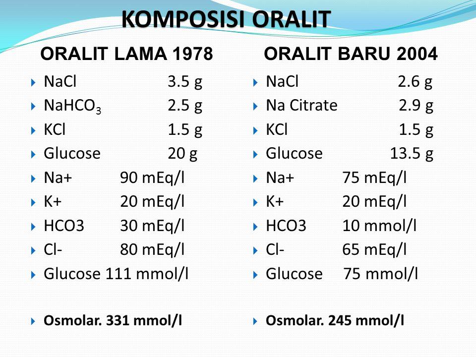 KOMPOSISI ORALIT ORALIT LAMA 1978 ORALIT BARU 2004 NaCl 3.5 g