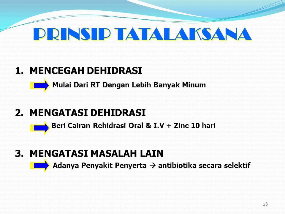 PRINSIP TATALAKSANA 1. MENCEGAH DEHIDRASI 2. MENGATASI DEHIDRASI