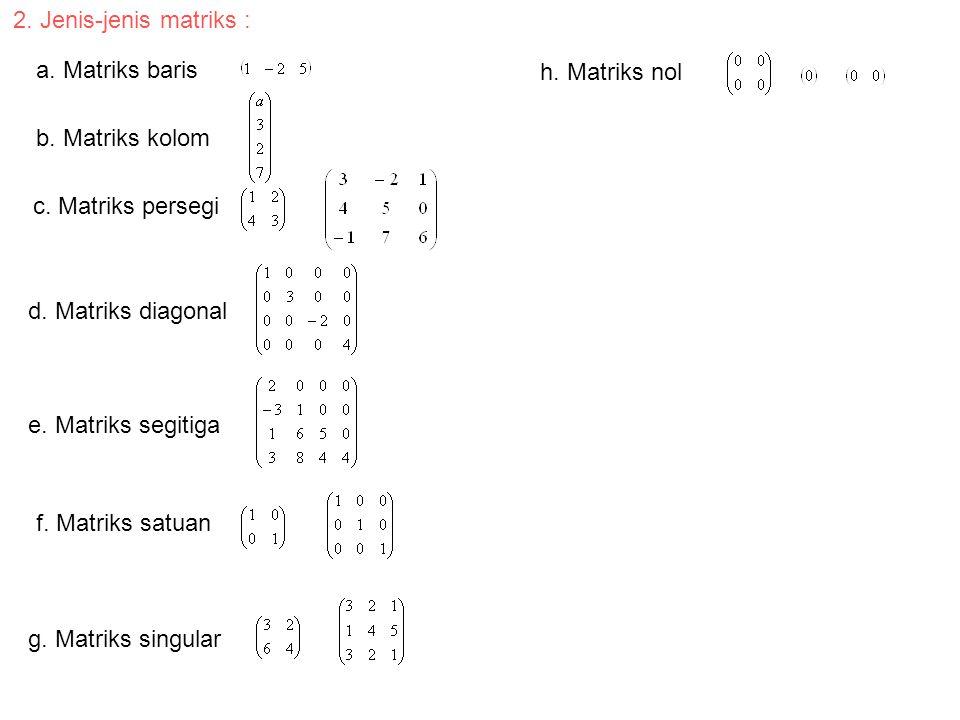 2. Jenis-jenis matriks : a. Matriks baris. h. Matriks nol. b. Matriks kolom. c. Matriks persegi.