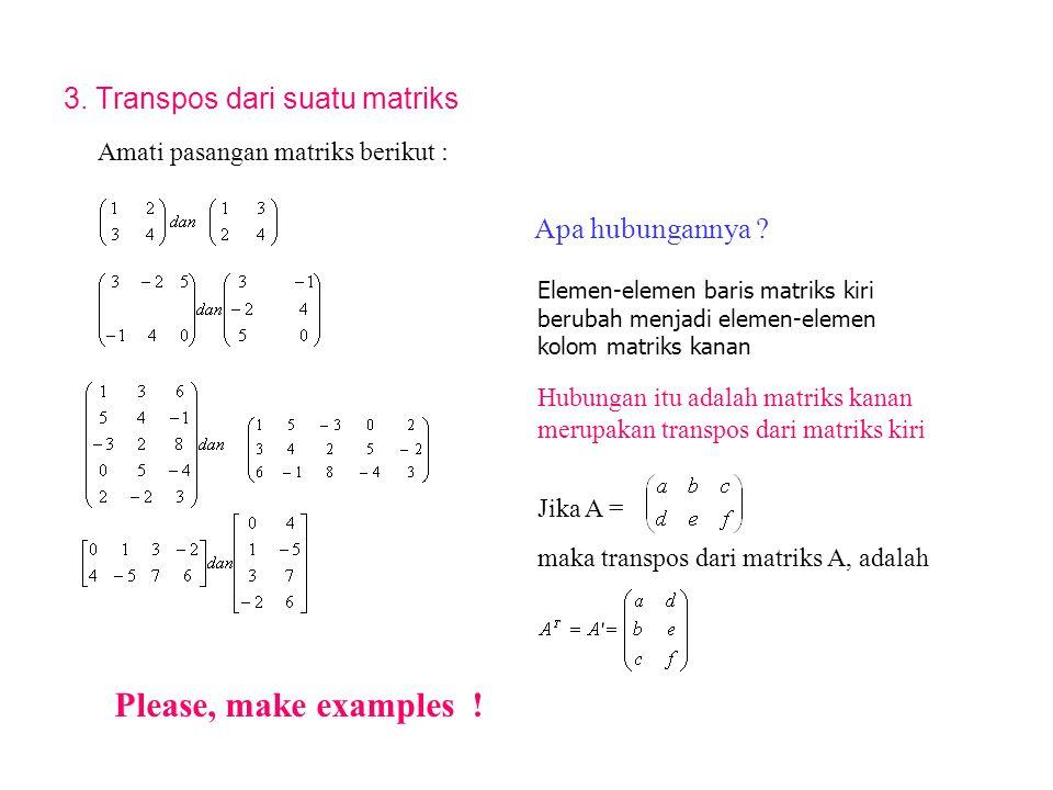 3. Transpos dari suatu matriks