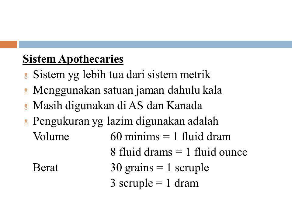 Sistem Apothecaries Sistem yg lebih tua dari sistem metrik. Menggunakan satuan jaman dahulu kala. Masih digunakan di AS dan Kanada.