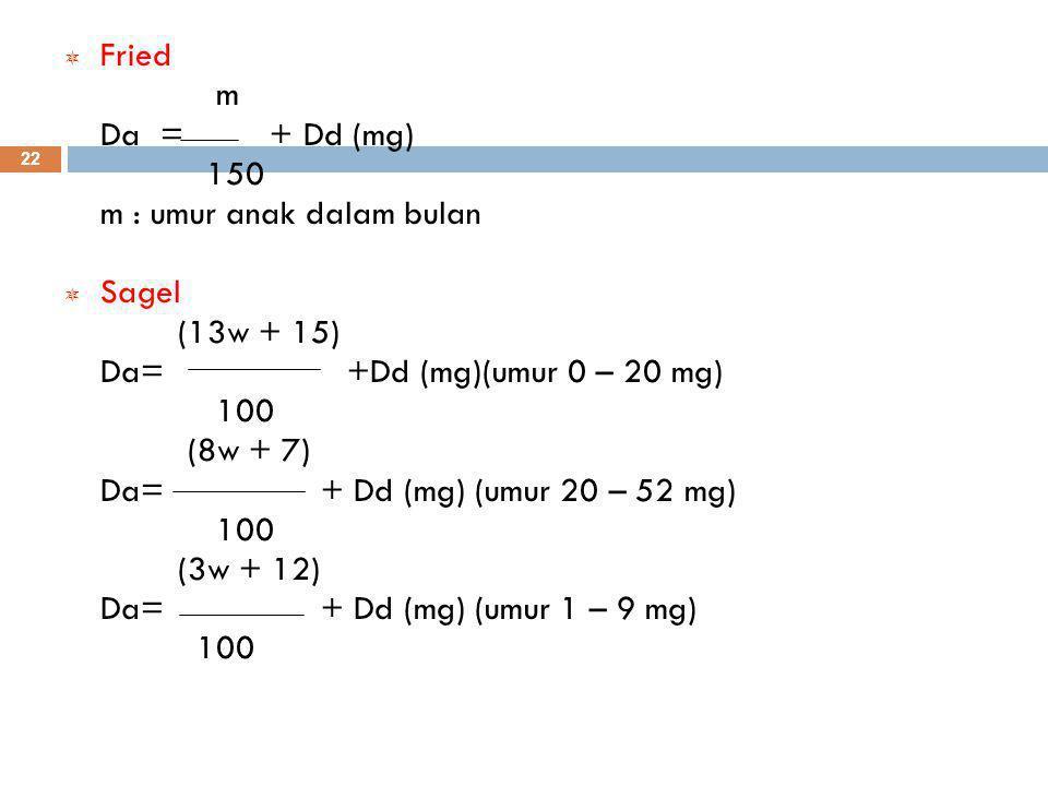Fried m. Da = + Dd (mg) 150. m : umur anak dalam bulan. Sagel. (13w + 15) Da= +Dd (mg)(umur 0 – 20 mg)