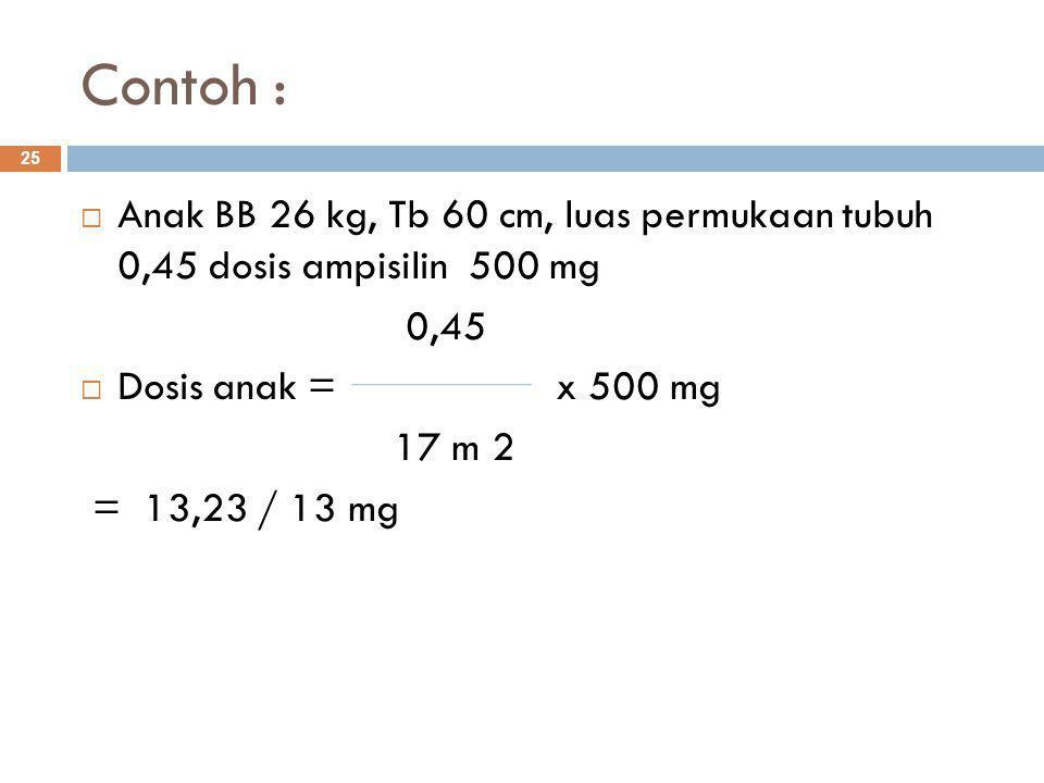 Contoh : Anak BB 26 kg, Tb 60 cm, luas permukaan tubuh 0,45 dosis ampisilin 500 mg. 0,45. Dosis anak = x 500 mg.