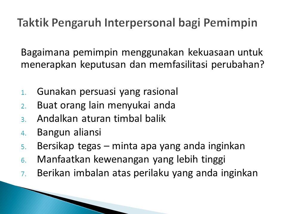 Taktik Pengaruh Interpersonal bagi Pemimpin