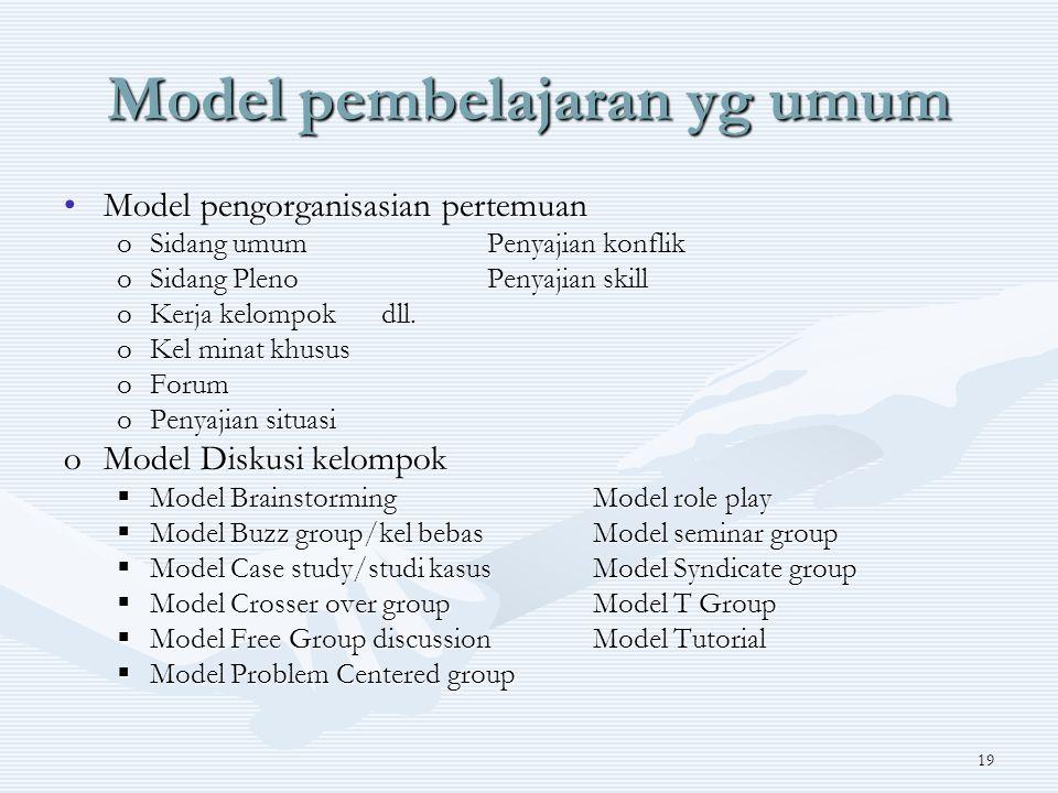 Model pembelajaran yg umum