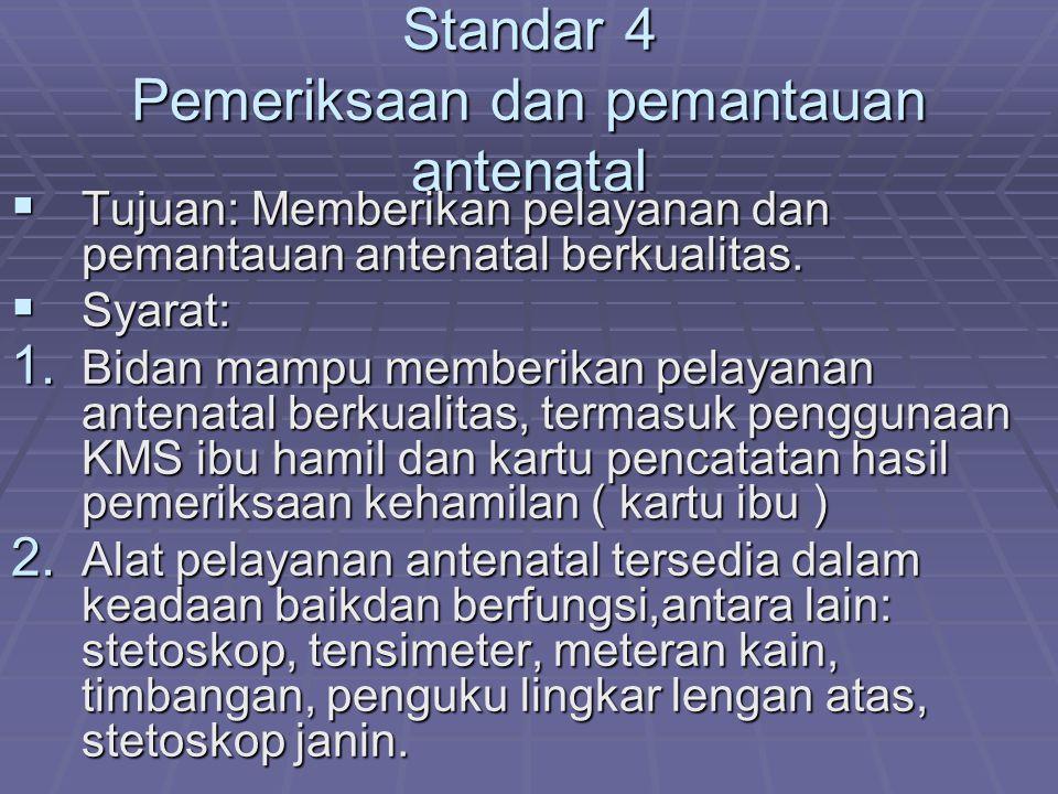 Standar 4 Pemeriksaan dan pemantauan antenatal