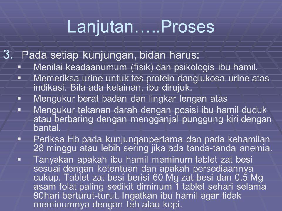 Lanjutan…..Proses Pada setiap kunjungan, bidan harus: