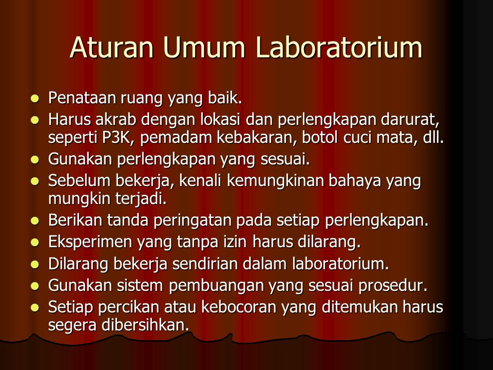 Aturan Umum Laboratorium