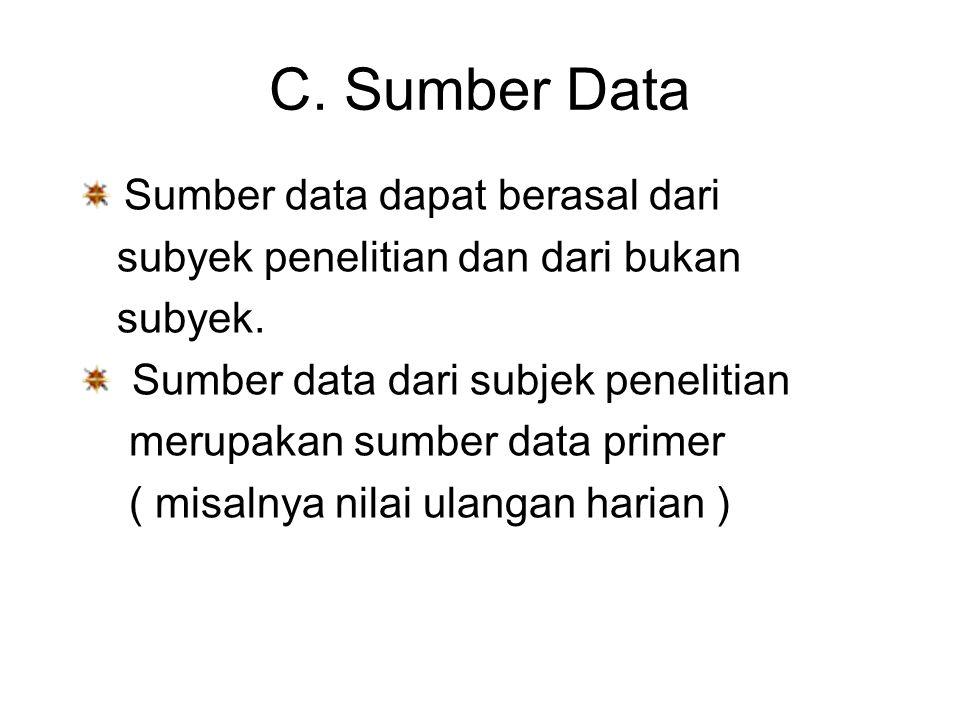 C. Sumber Data Sumber data dapat berasal dari