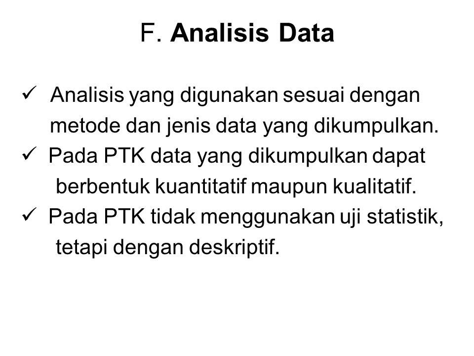 F. Analisis Data Analisis yang digunakan sesuai dengan