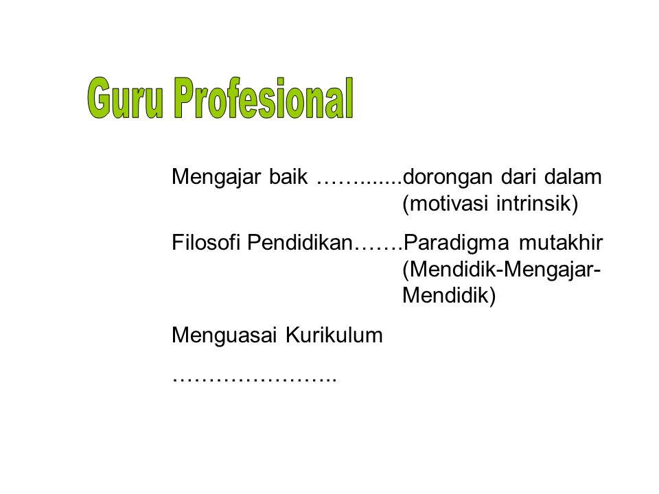 Guru Profesional Mengajar baik …….......dorongan dari dalam (motivasi intrinsik)