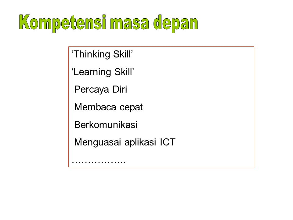 Kompetensi masa depan 'Thinking Skill' 'Learning Skill' Percaya Diri