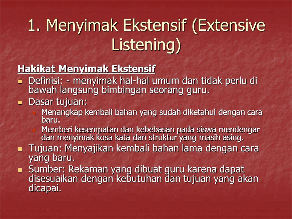 1. Menyimak Ekstensif (Extensive Listening)