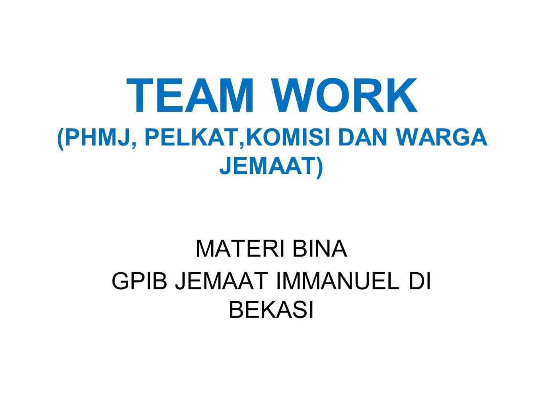 TEAM WORK (PHMJ, PELKAT,KOMISI DAN WARGA JEMAAT)