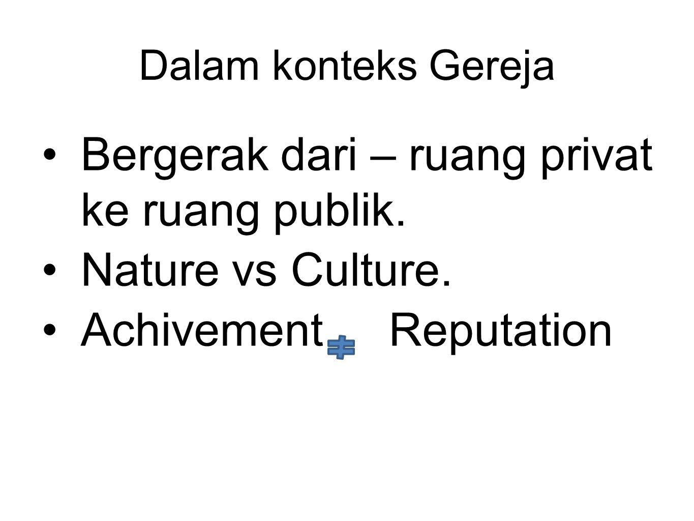 Bergerak dari – ruang privat ke ruang publik. Nature vs Culture.