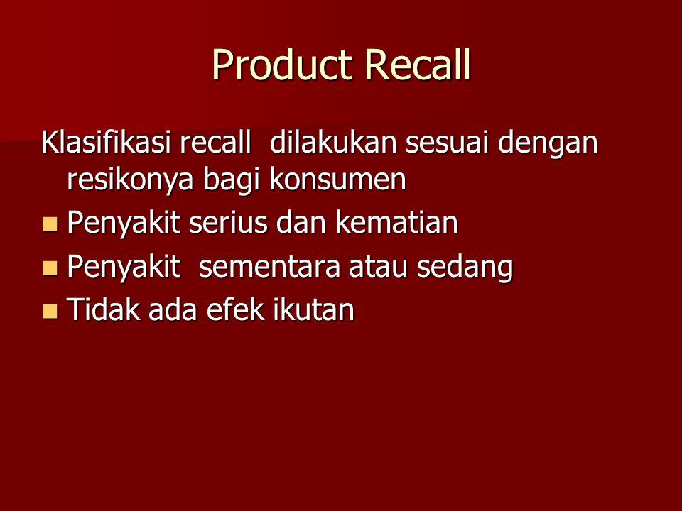 Product Recall Klasifikasi recall dilakukan sesuai dengan resikonya bagi konsumen. Penyakit serius dan kematian.