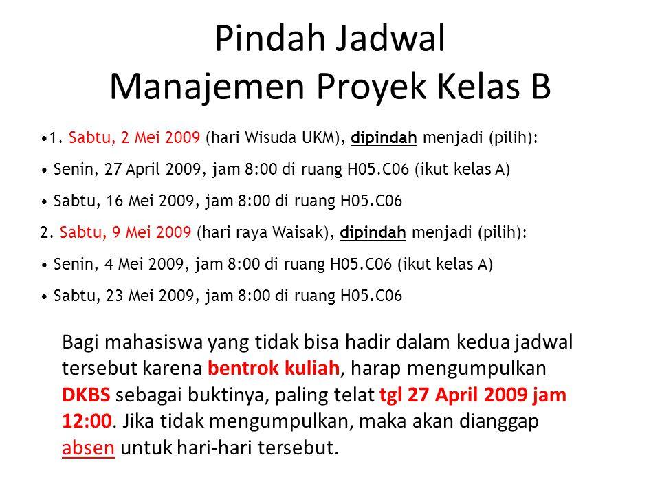 Pindah Jadwal Manajemen Proyek Kelas B