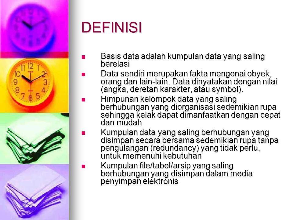 DEFINISI Basis data adalah kumpulan data yang saling berelasi