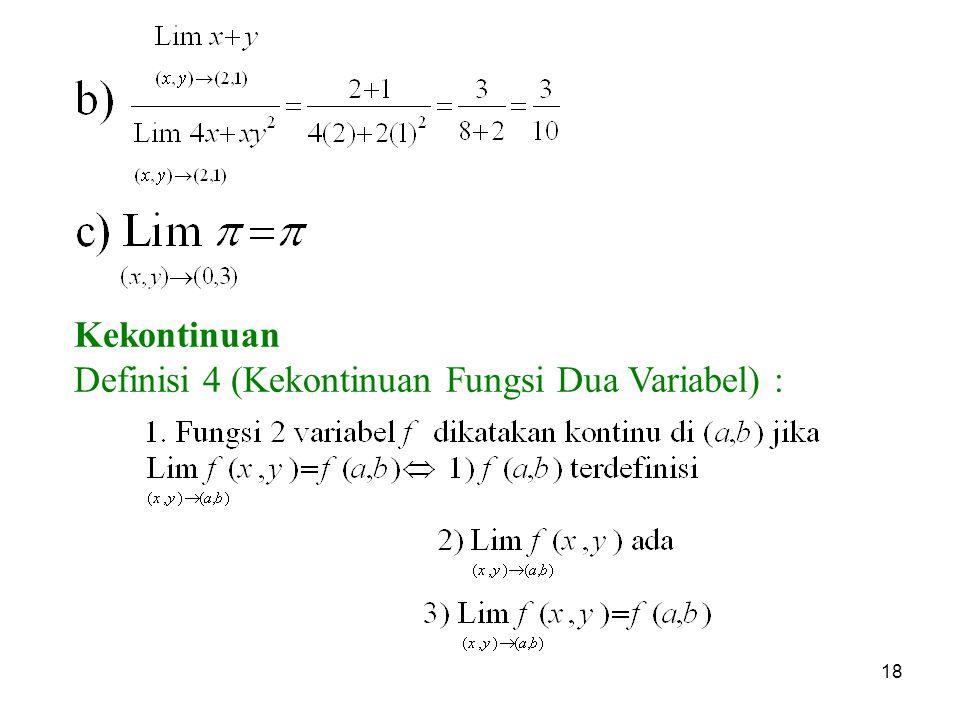 Kekontinuan Definisi 4 (Kekontinuan Fungsi Dua Variabel) :