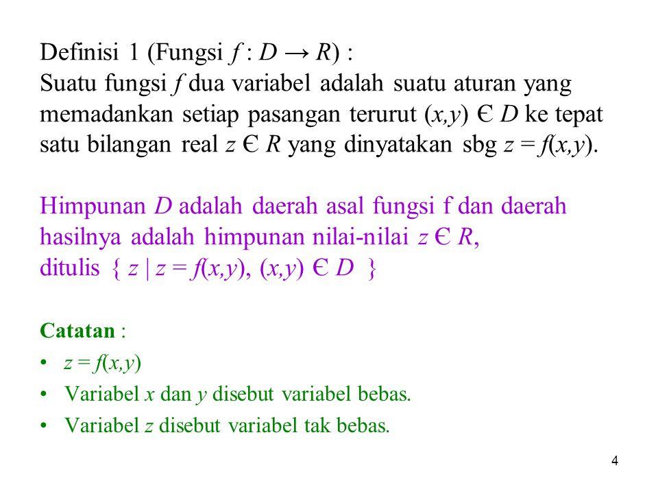 Definisi 1 (Fungsi f : D → R) : Suatu fungsi f dua variabel adalah suatu aturan yang memadankan setiap pasangan terurut (x,y) Є D ke tepat satu bilangan real z Є R yang dinyatakan sbg z = f(x,y). Himpunan D adalah daerah asal fungsi f dan daerah hasilnya adalah himpunan nilai-nilai z Є R, ditulis { z | z = f(x,y), (x,y) Є D }