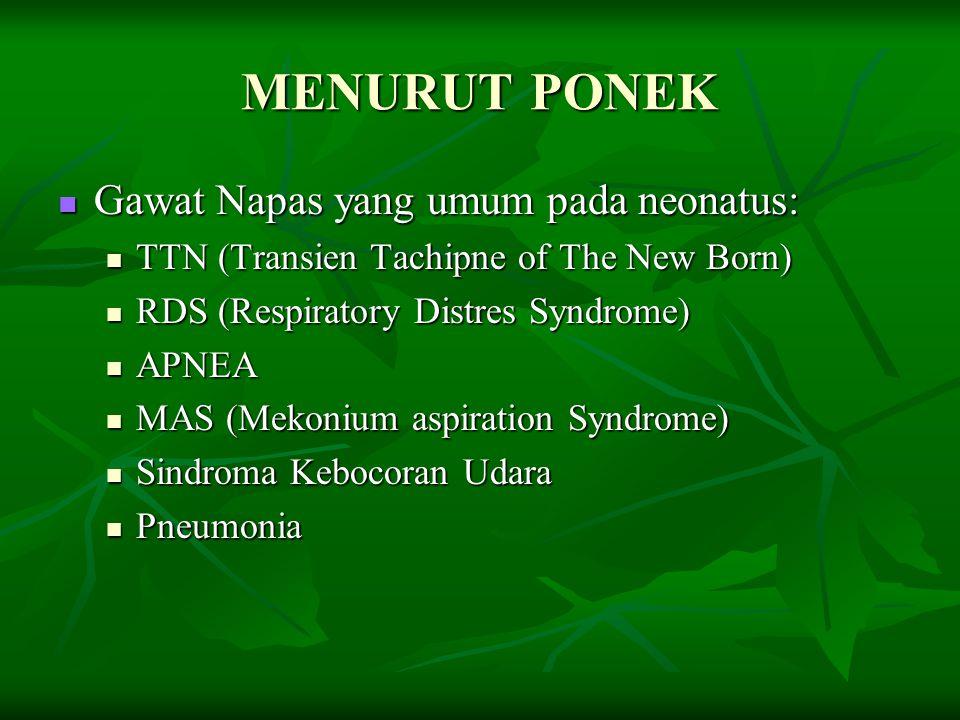 MENURUT PONEK Gawat Napas yang umum pada neonatus: