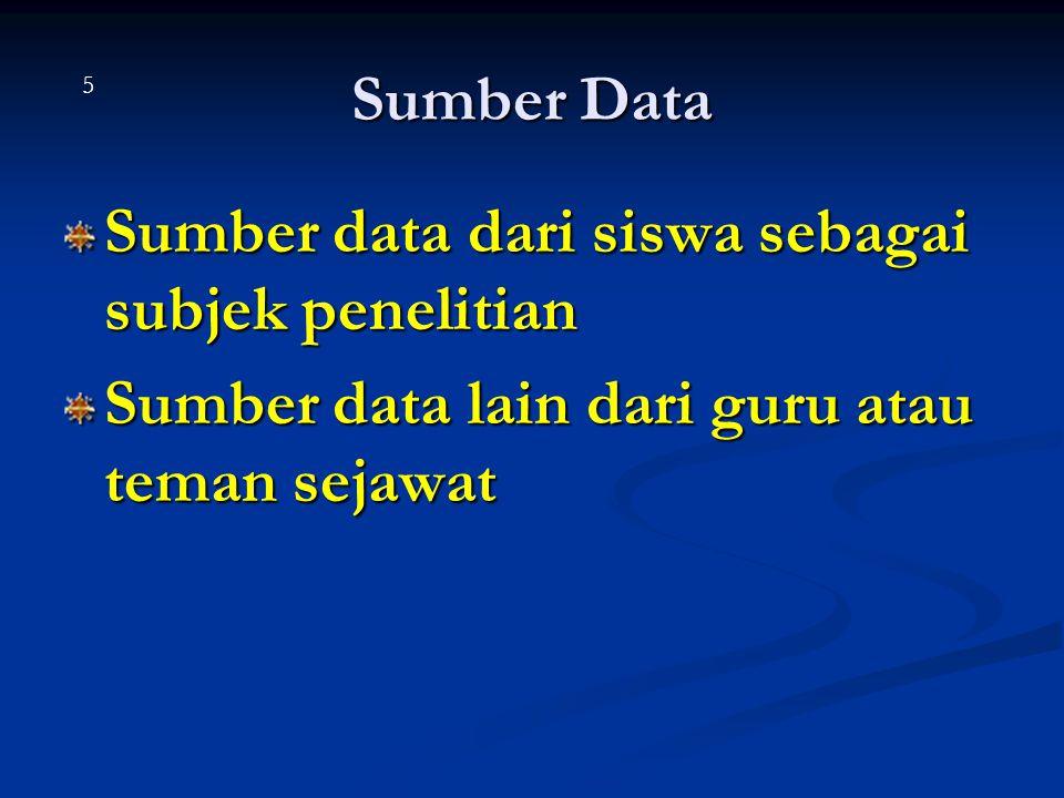 Sumber data dari siswa sebagai subjek penelitian