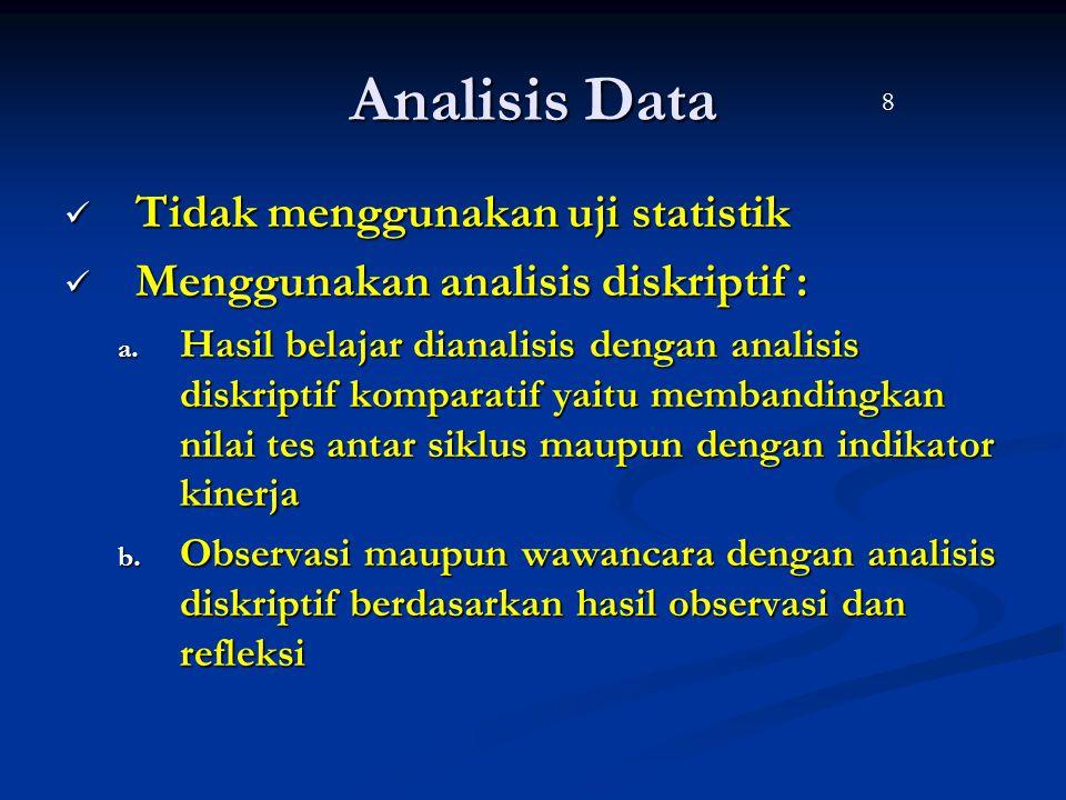 Analisis Data Tidak menggunakan uji statistik