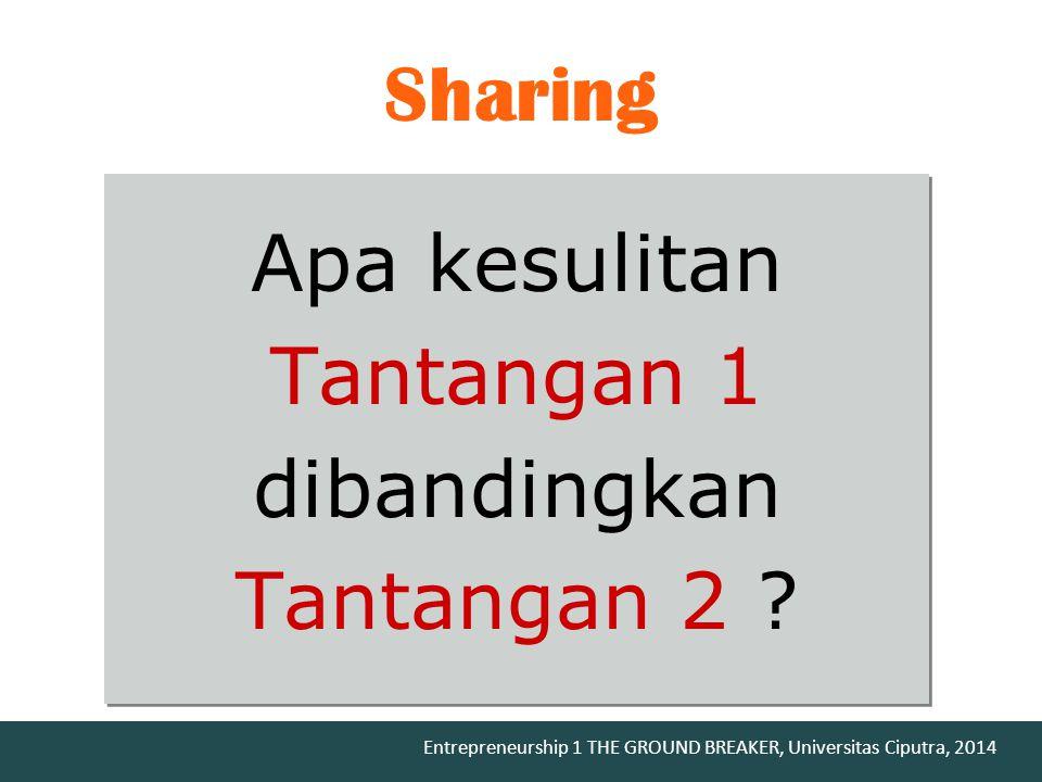 Sharing Apa kesulitan Tantangan 1 dibandingkan Tantangan 2